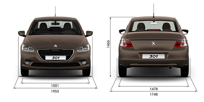 Ширина / высота Peugeot 301